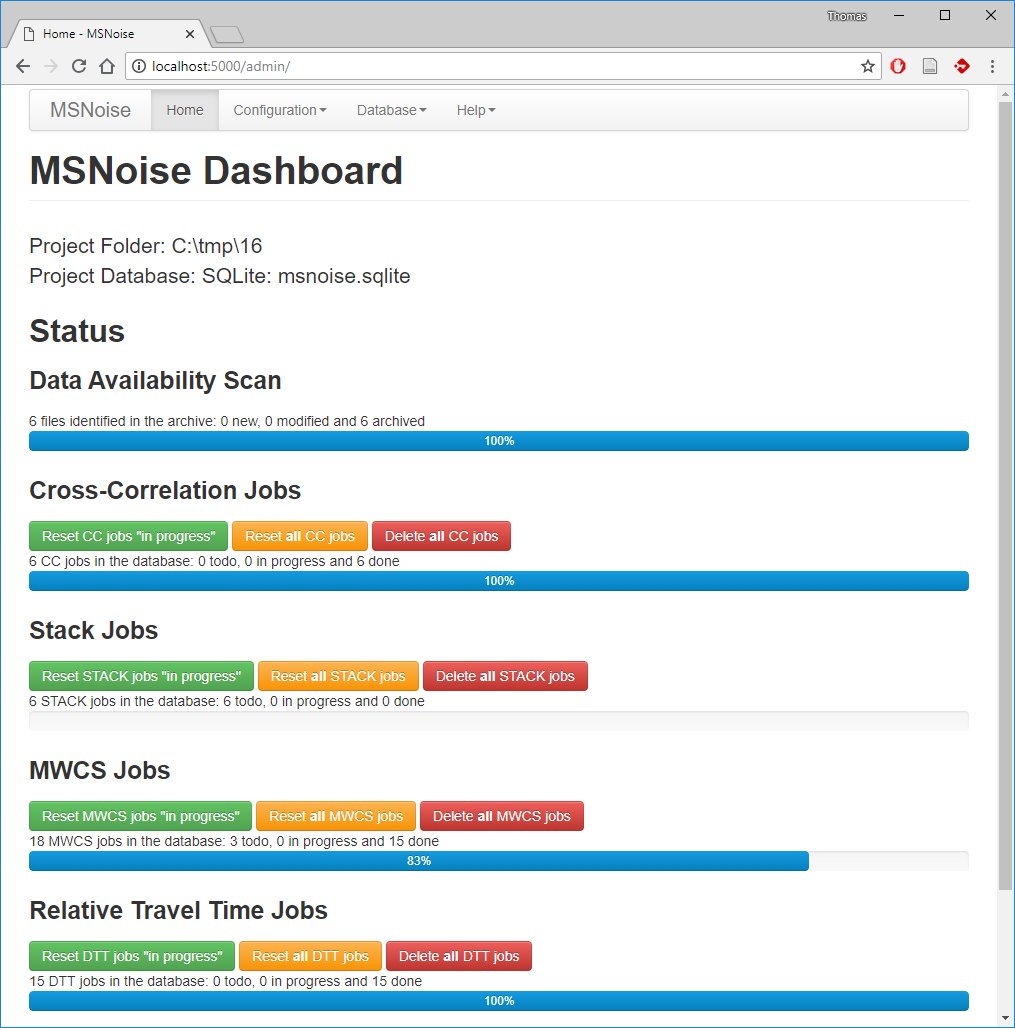MSNoise Admin (Web Interface) — MSNoise | A Python Package